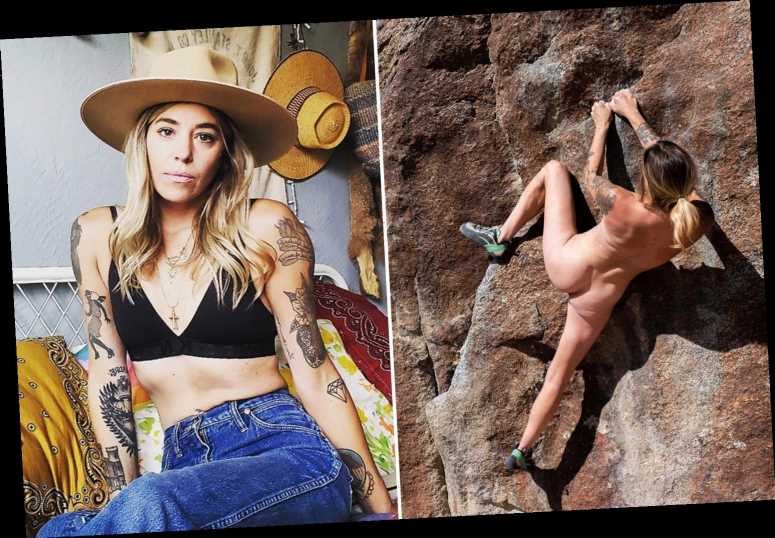 Naked rock climber says she loves posing for pics in the buff and says 'it's not porn its art'