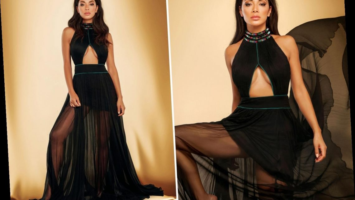 Nicole Scherzinger shows off her legs in a stunning sheer gown for glam photoshoot
