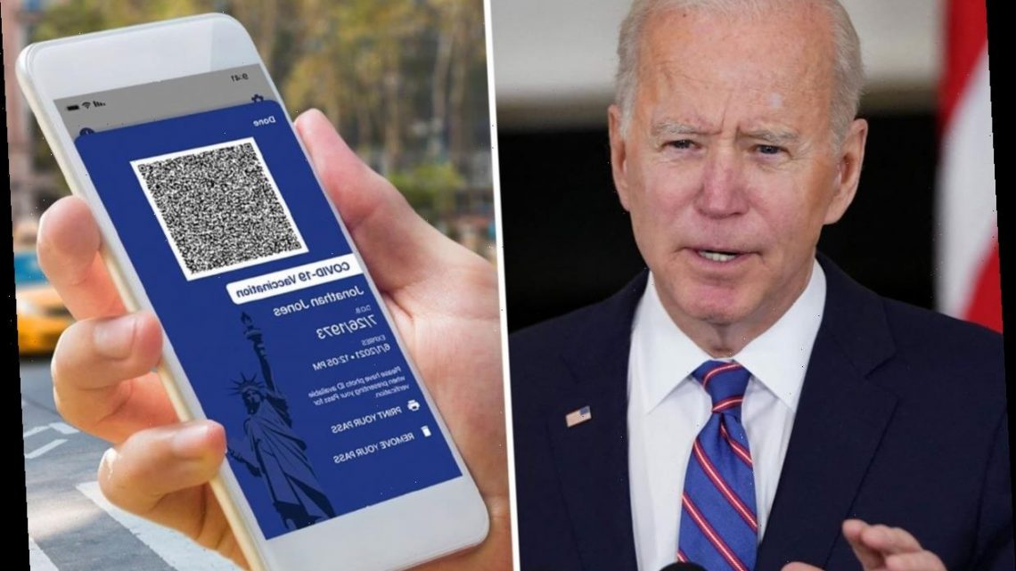 Biden WON'T demand federal 'vaccine passport' for Americans with jab after Texas and Florida ban them