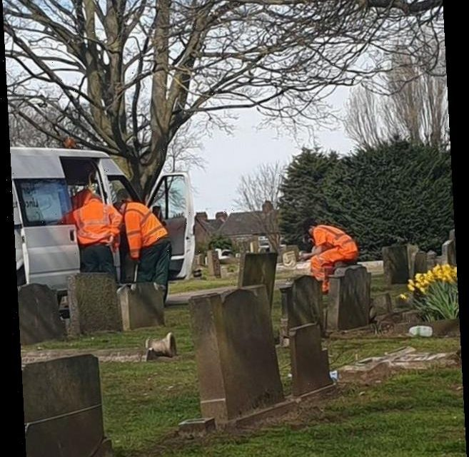 Council worker pictured sitting on gravestone to smoke cigarette during break as bosses apologise