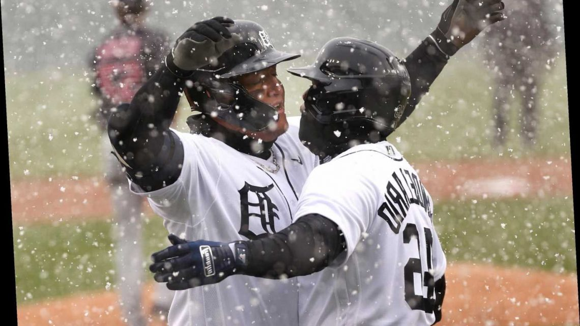 The first home run of MLB season included  lots of snow and one slide