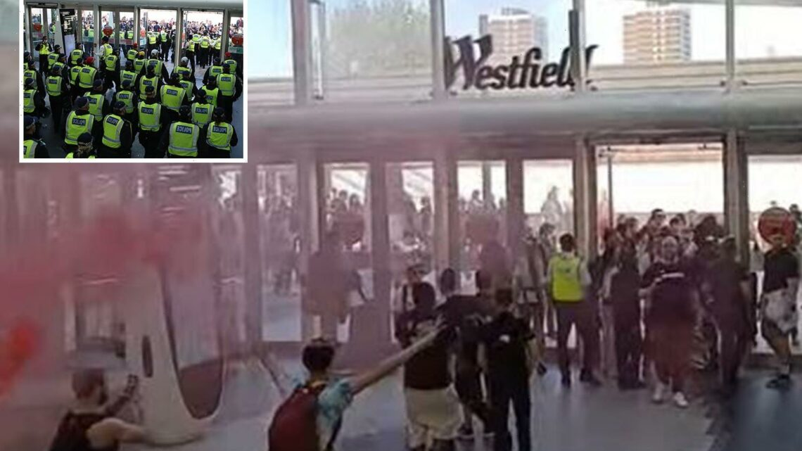 Anti-vaxxers claiming pandemic is a hoax try to storm Westfield shopping centre and clash with cops