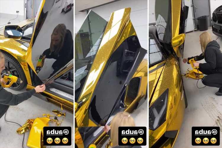 Arsenal star Aubameyang has gold wrap removed from £170k Lamborghini Aventador to reveal black bodywork beneath