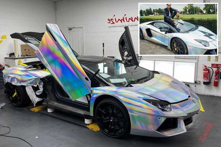 Arsenal star Pierre-Emerick Aubameyang gets £270k Lamborghini Aventador wrapped with hologram to add to plush collection