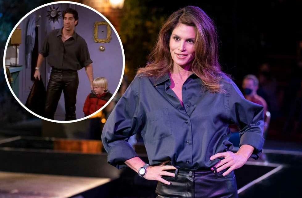 Cindy Crawford models Ross' leather pants in 'Friends' reunion fashion show