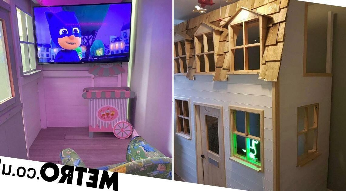 Granddad makes incredible DIY house bed for grandson – with doorbell and TV
