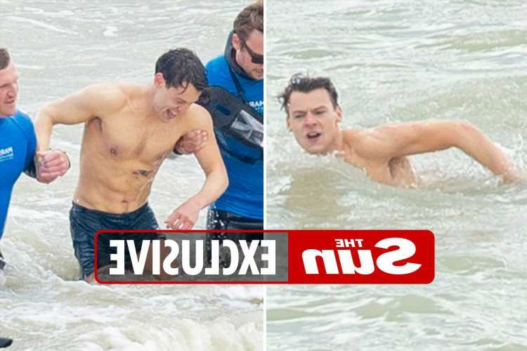 Harry Styles strips off as he's seen without his famous tattoos in the freezing sea filming new movie role