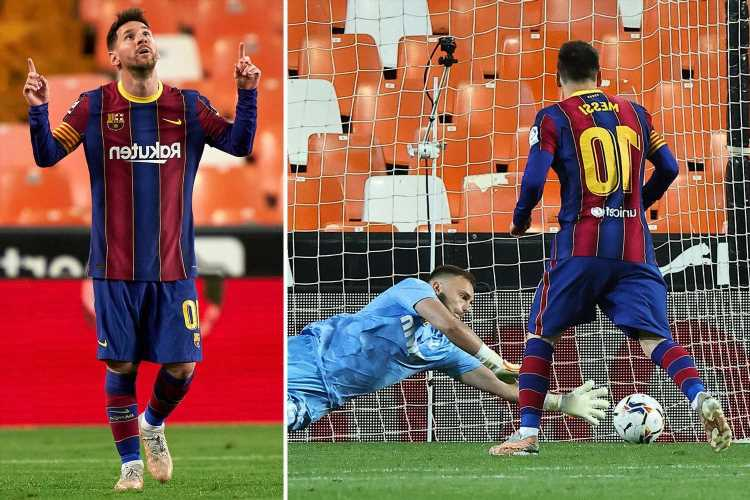 Lionel Messi misses penalty but scores double as Barcelona edge past Valencia to keep LaLiga title hopes alive