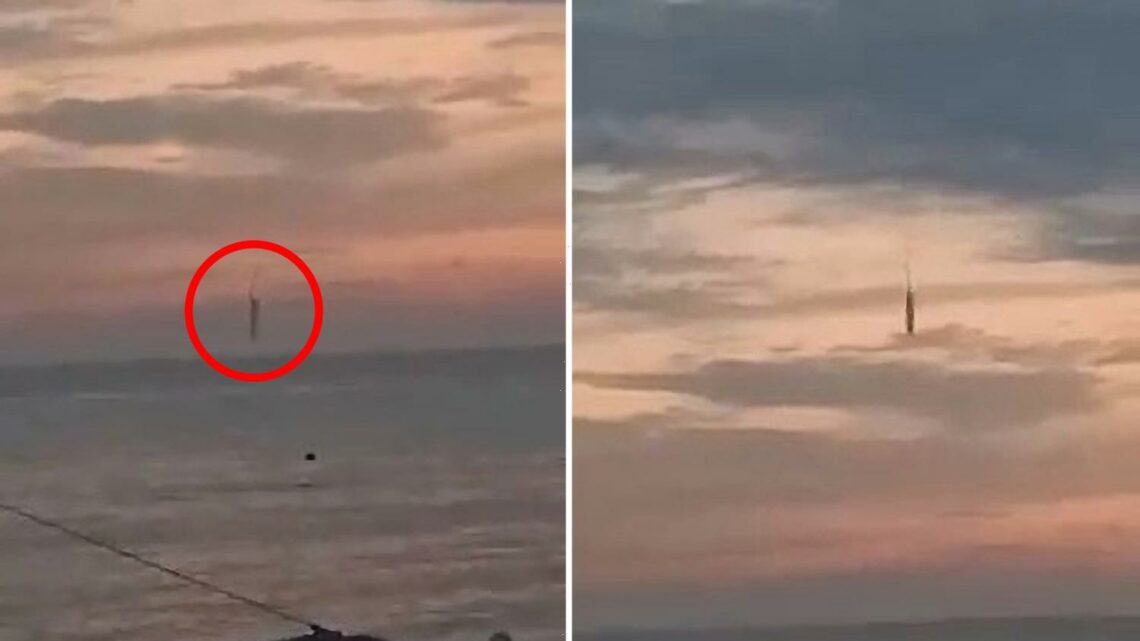 Mystery as anchor-shaped UFO leaves trail of smoke before crashing into sea off Indonesia