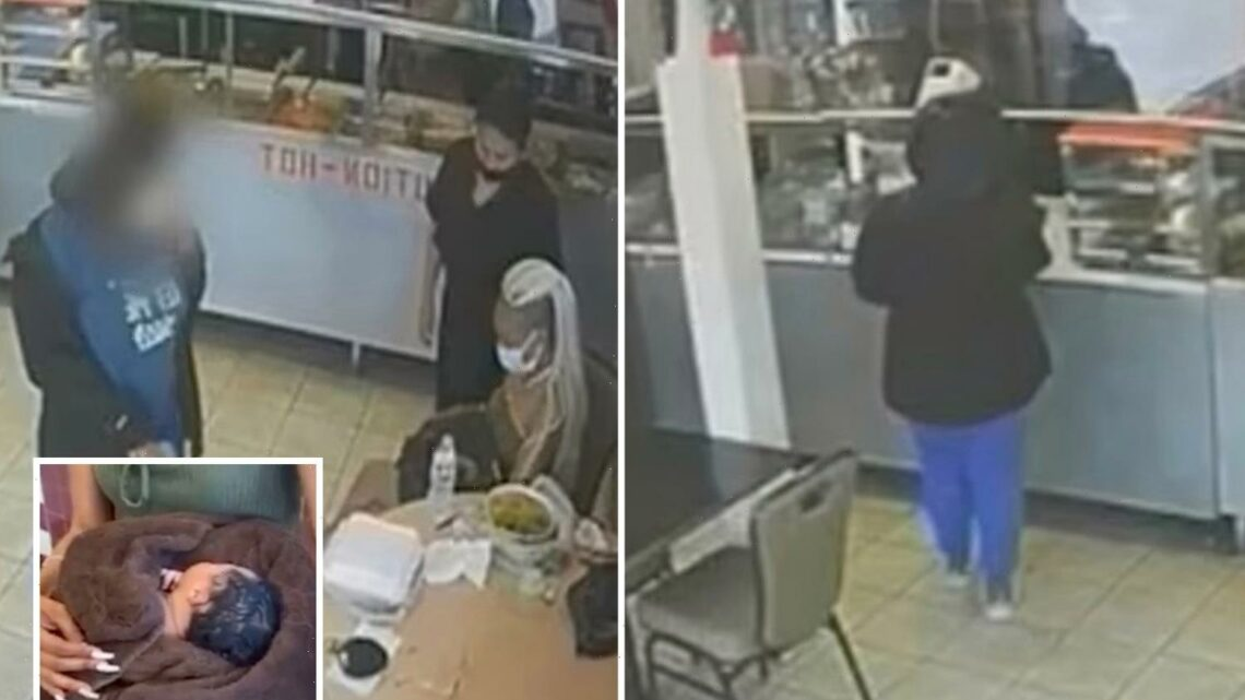 Shocking moment New Jersey girl, 14, hands newborn baby to stranger in Mexican restaurant and flees