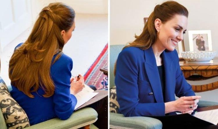 'Stunning': Kate Middleton in bright blue £60 blazer for International Day of the Midwife