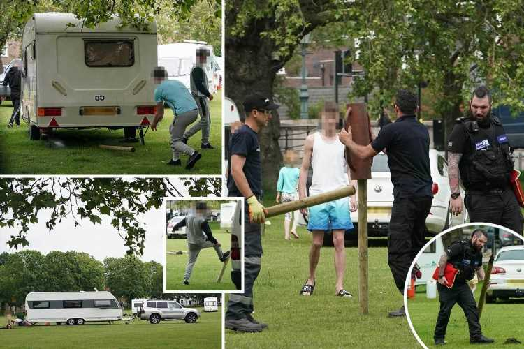 Travellers row with security guards after 12 caravans pitch up next to £2million homes in posh Kew Green in London