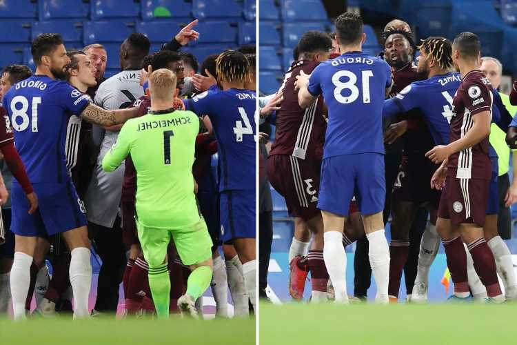 Watch Chelsea and Leicester in 30-MAN BRAWL with clubs facing an FA charge as coaches and subs clash at Stamford Bridge