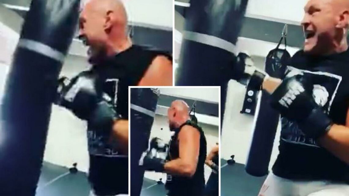 Watch wild Tyson Fury smack heavy bag in brutal warning to next 'victim' ahead of Anthony Joshua or Deontay Wilder fight