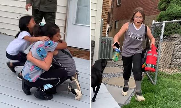 10-year-old girl reunites with her sisters for first time in a YEAR