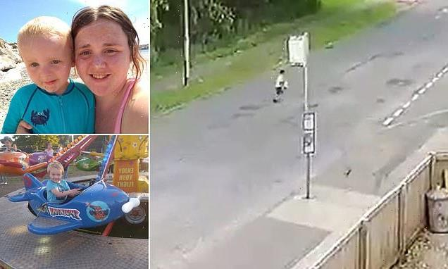 CCTV shows heart-stopping moment four-year-old boy crosses a main road