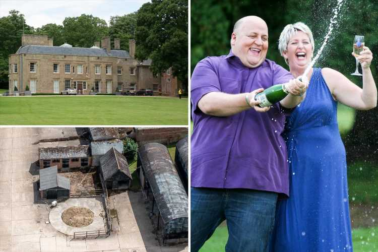 EuroMillions winner Adrian Bayford's abandoned £6.5million mansion looks dilapidated as it languishes unsold for 3 years