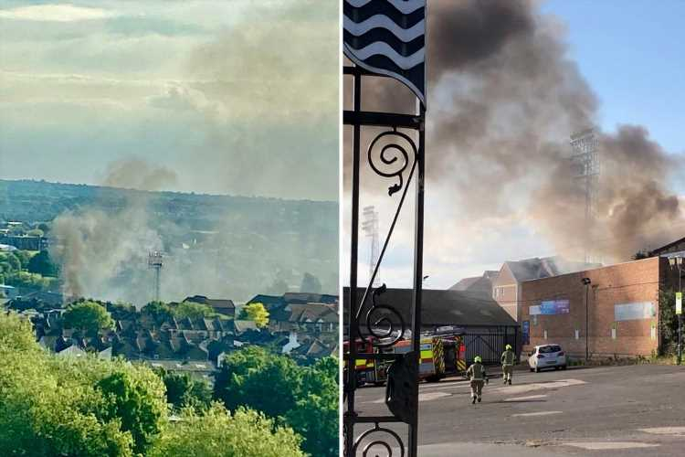 Fire breaks out next to Southend United's Roots Hall stadium with large amounts of AstroTurf ablaze