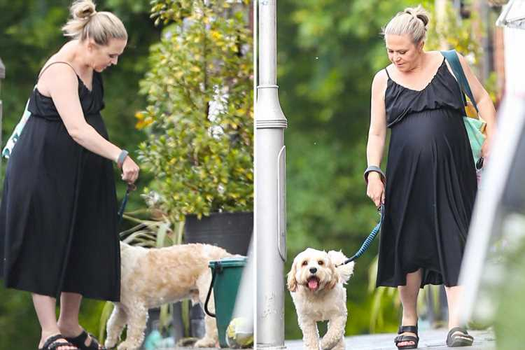 Heavily pregnant EastEnders star Kellie Bright keeps cool as she counts down the days to birth