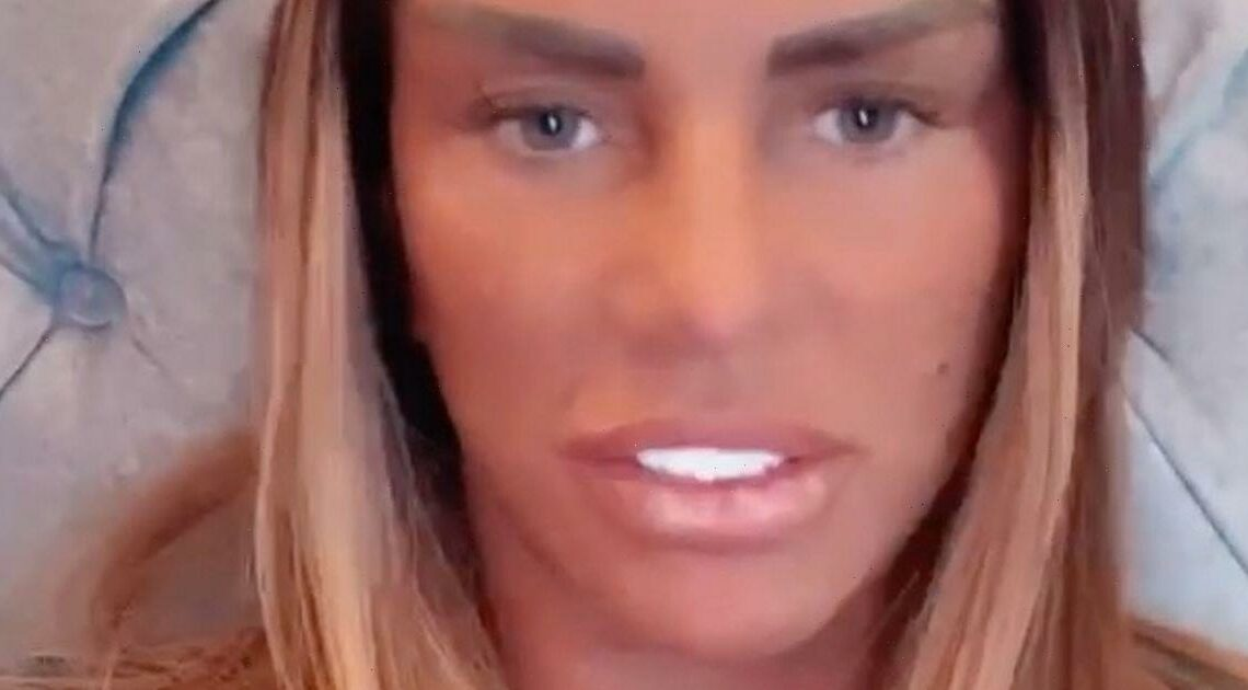 Katie Price forced to keep swollen legs up in air after lipo surgery in Turkey