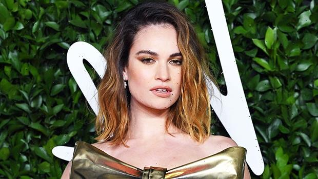 Lily James Channels Pamela Anderson With Iconic Messy Up-Do & Metallic Lamé Mini Dress
