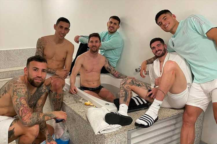 Lionel Messi swears in explicit Instagram post as he celebrates Argentina's Copa America win over Uruguay in the bath