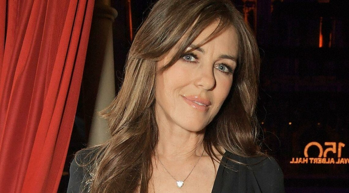 Liz Hurley takes the plunge in black gown for night out with David Walliams