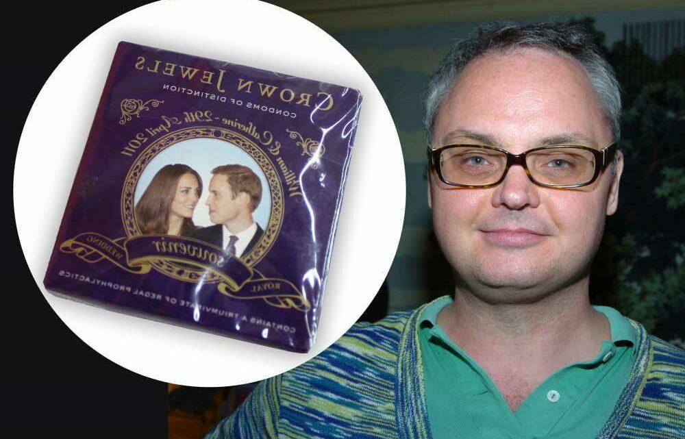 Mickey Boardman selling royal memorabilia, including condoms, for charity