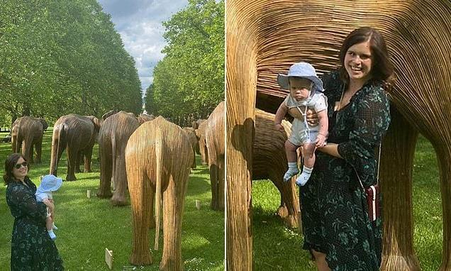 Princess Eugenie shares photos of son August visiting elephant display