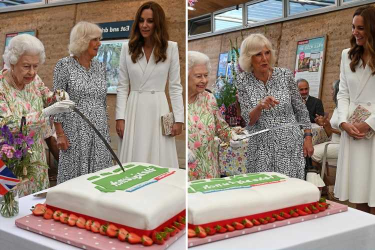 Queen 'warned' Kate & Camilla not to argue with her about using sharp sword to cut cake, says body language expert