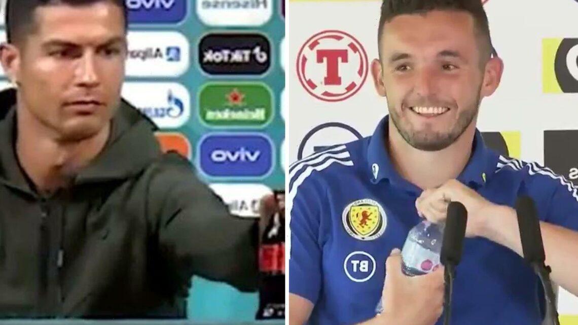 Scotland star John McGinn pokes fun at Cristiano Ronaldo with cheeky Coca-Cola joke at pre-England Euro 2020 presser