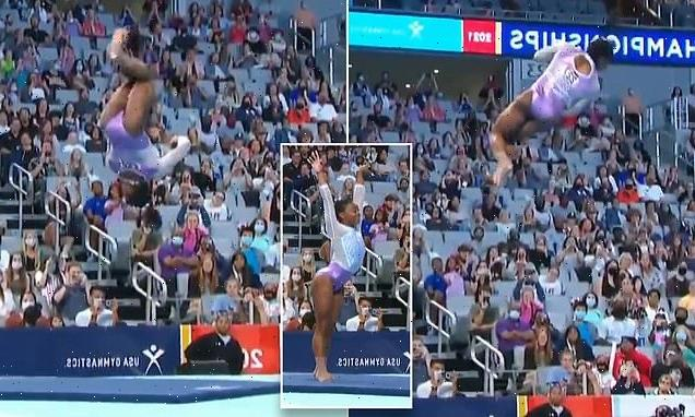 Slow-motion video shows Simone Biles barely touching the ground