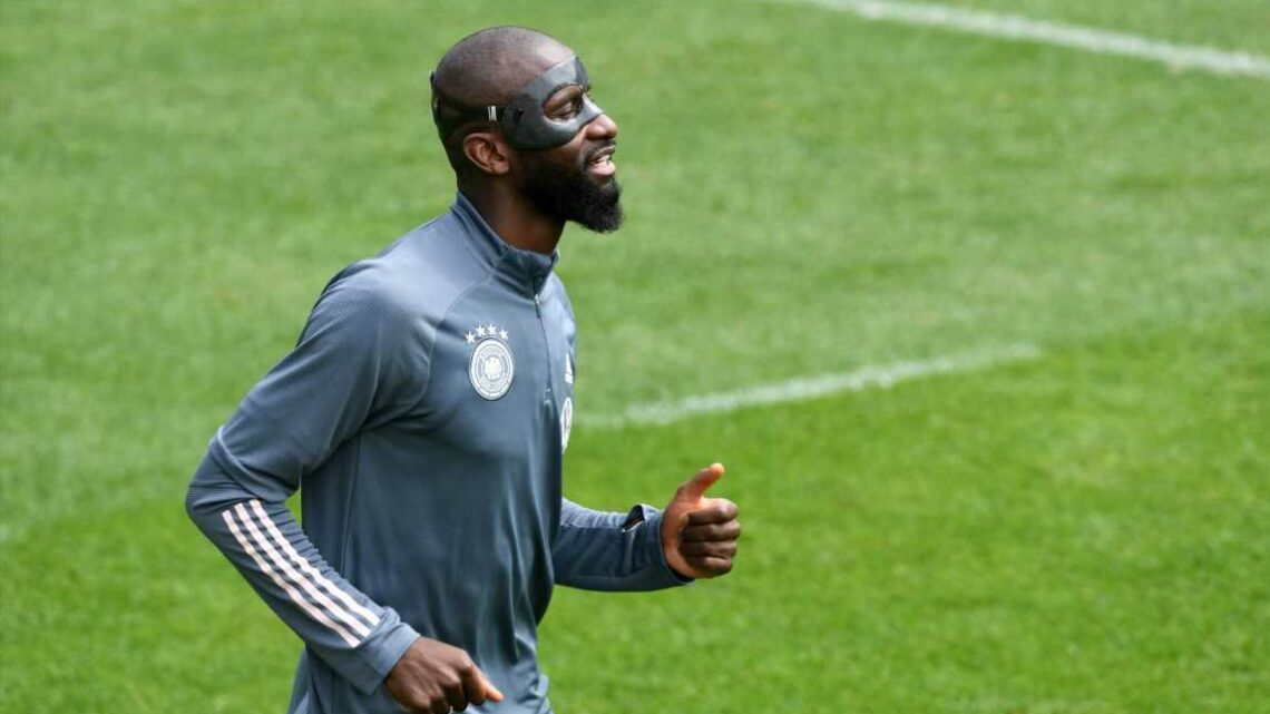 Why is Antonio Rudiger wearing a mask during Euro 2020 clash with France?