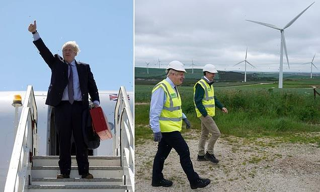 'Green' Boris visits wind farm after 250-mile flight to Cornwall