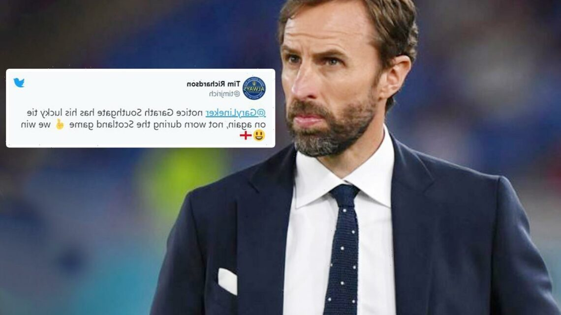 England boss Gareth Southgate's 'lucky' polka-dot tie has been designed by British fashion house Percival and costs £49