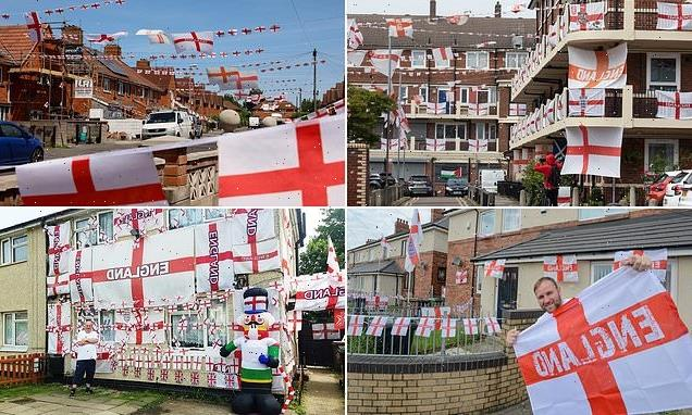 Flying the Three Lions flag! England's patriotic streets put on a show