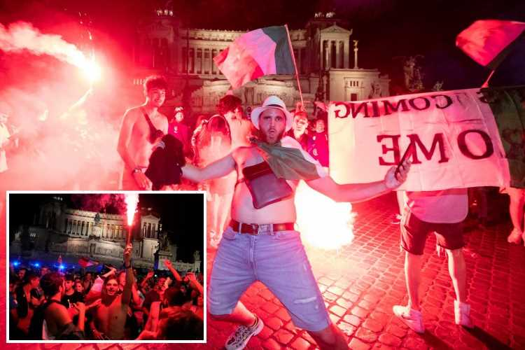 Italy fans go wild and hold up 'football's coming Rome' signs as they celebrate Euro 2020 win over England at home