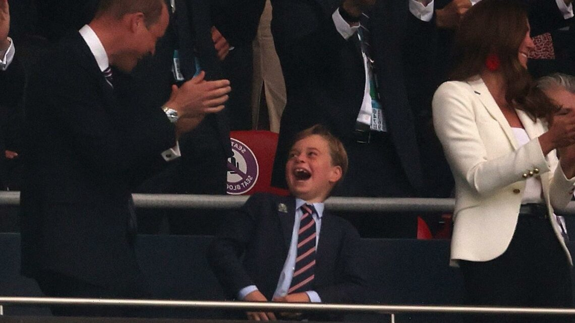 Lucky charm Prince George goes wild and hugs Kate Middleton as England scores in first minutes of Euro 2020 final