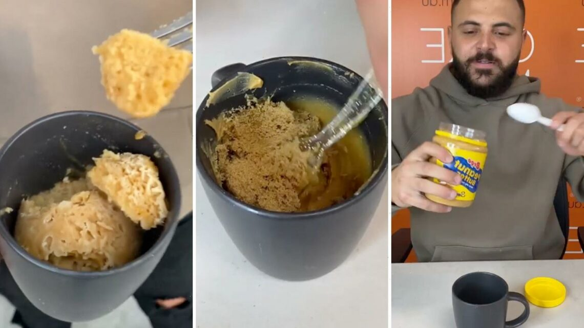 Man shows how to make a mouthwatering peanut butter mug cake – and you need just THREE ingredients