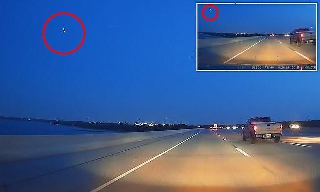 Meteor captured soaring across sky above Texas highway