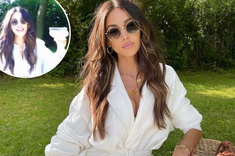 Michelle Keegan teases glimpse at cleavage as she poses in rare plunging neckline on summery picnic