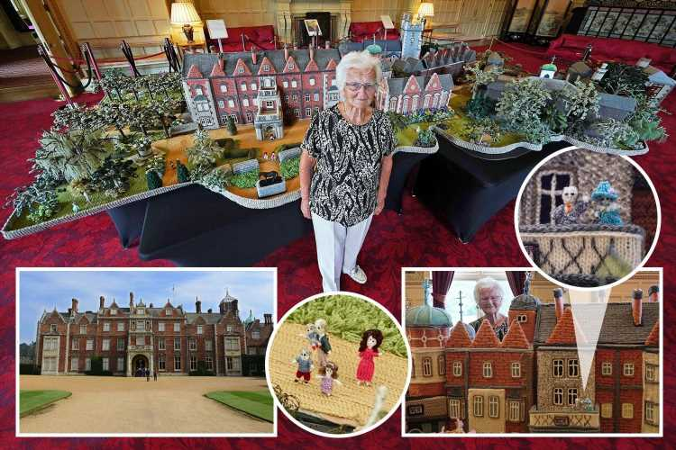 Pensioner, 92, shows off 18ft version of the Queen's Sandringham estate — knitted wool