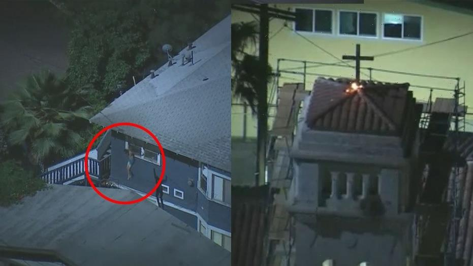 Shirtless California man arrested after setting fire to cross atop church, jumping rooftops
