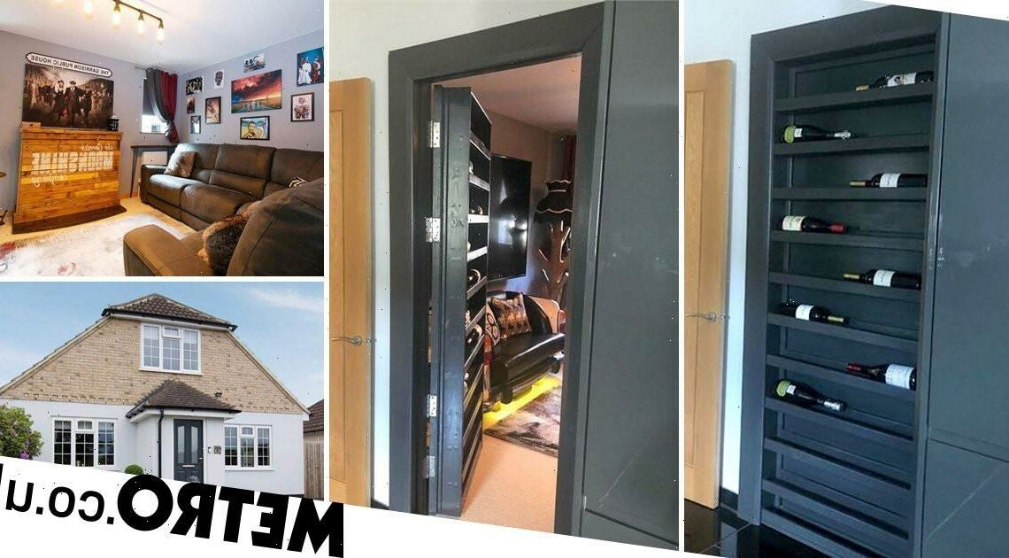 This converted bungalow has a secret room hidden behind the wine rack