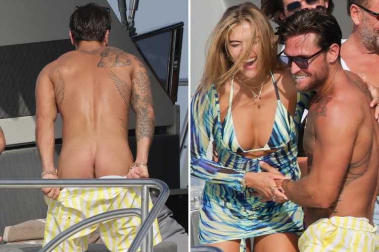 Tom Zannetti flashes his naked BUM from luxury yacht in Ibiza with new girlfriend Arabella Chi