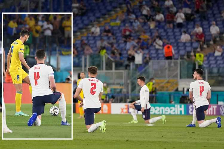 Ukraine forced to retake kick-off after jumping gun while England were taking the knee at Euro 2020