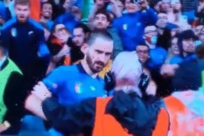 Watch confused Wembley steward try to stop Leonardo Bonucci from re-entering pitch after celebrating Italy's penalty win