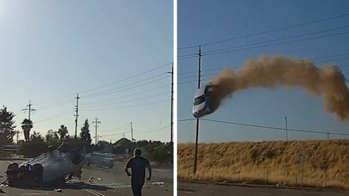 Wild Crash Video of Car Flying Over CA Highway, Smashes Down But Driver Lives