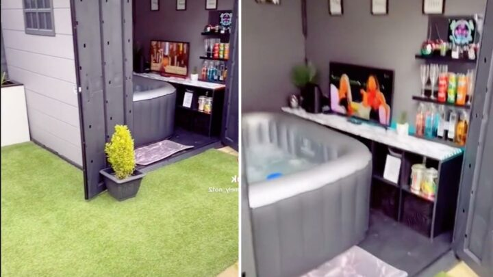 Woman converts her garden shed into Love Island viewing shack with bar and hot tub and people can't get enough of it