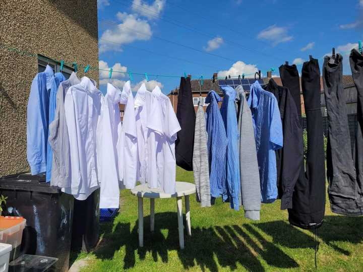 Woman praised for 'genius' washing line hack which doubles the amount you can dry – and banishes ironing too